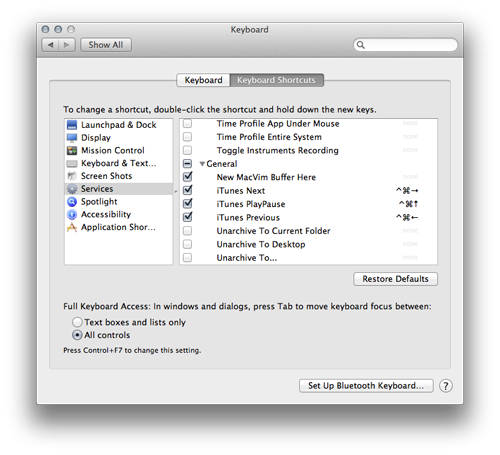 Screenshot System Preferences